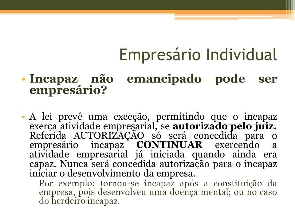 Empresário Individual Impedidos de exercer a atividade empresarial O art.