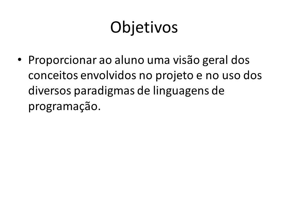 Objetivos Proporcionar ao aluno uma visão geral dos conceitos envolvidos no projeto e no uso dos diversos paradigmas de linguagens de programação.