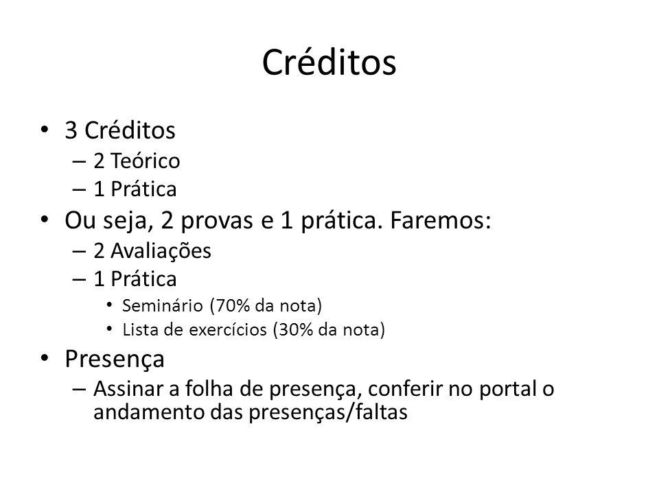 Créditos 3 Créditos – 2 Teórico – 1 Prática Ou seja, 2 provas e 1 prática.