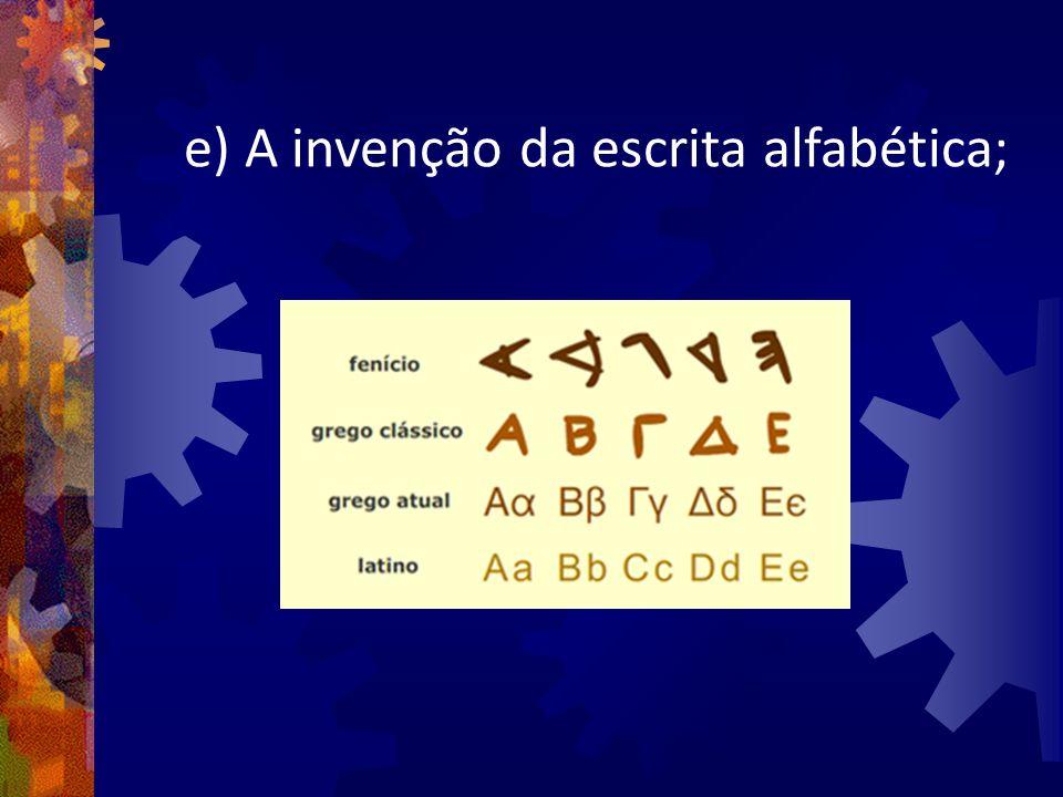 e) A invenção da escrita alfabética;
