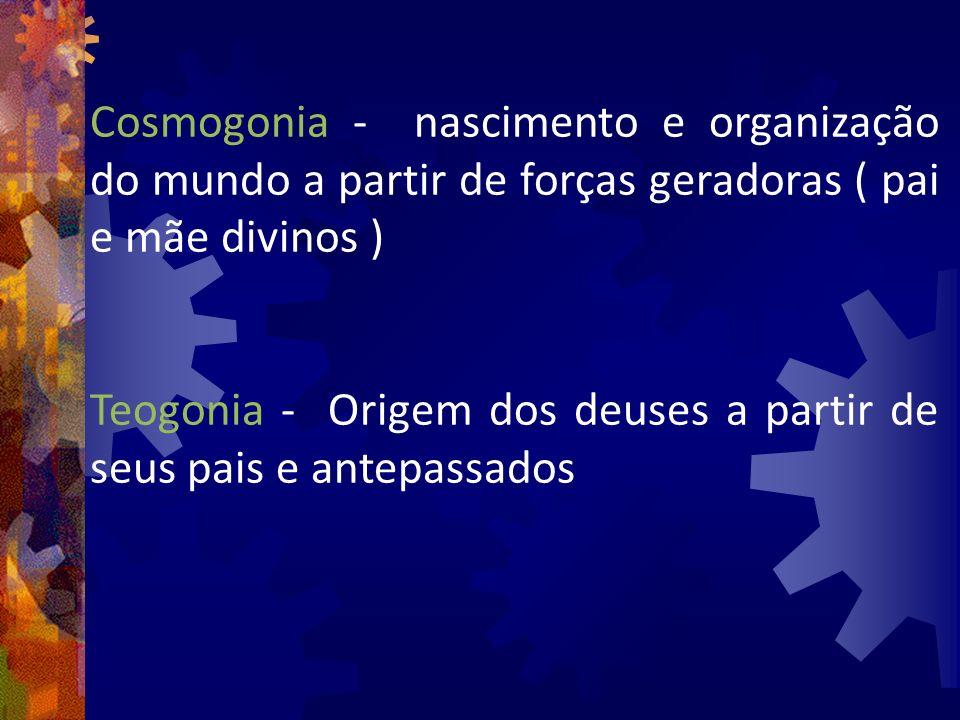 Cosmogonia - nascimento e organização do mundo a partir de forças geradoras ( pai e mãe divinos ) Teogonia - Origem dos deuses a partir de seus pais e