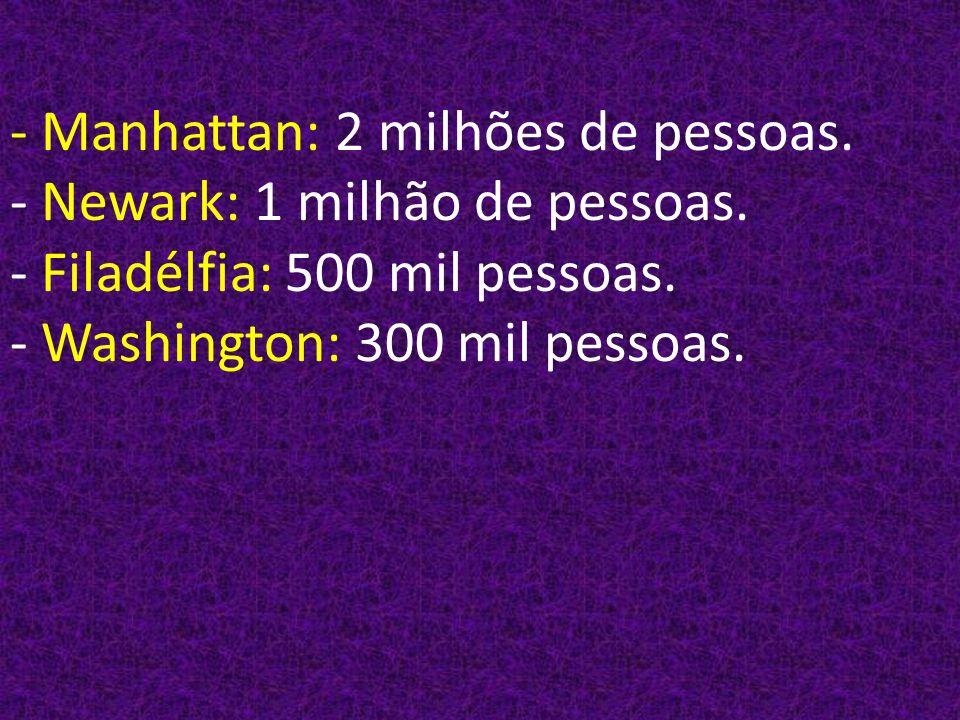 - Manhattan: 2 milhões de pessoas.- Newark: 1 milhão de pessoas.