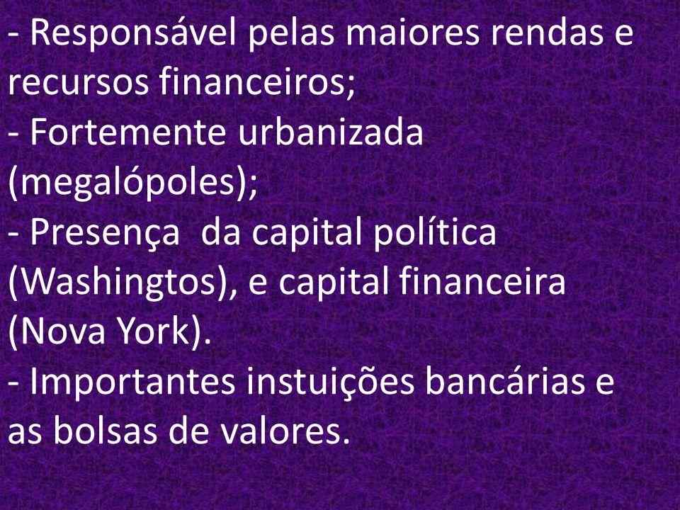 - Responsável pelas maiores rendas e recursos financeiros; - Fortemente urbanizada (megalópoles); - Presença da capital política (Washingtos), e capital financeira (Nova York).