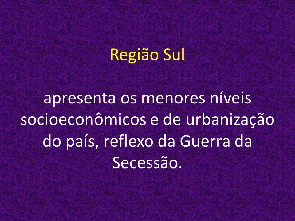 Região Sul apresenta os menores níveis socioeconômicos e de urbanização do país, reflexo da Guerra da Secessão.