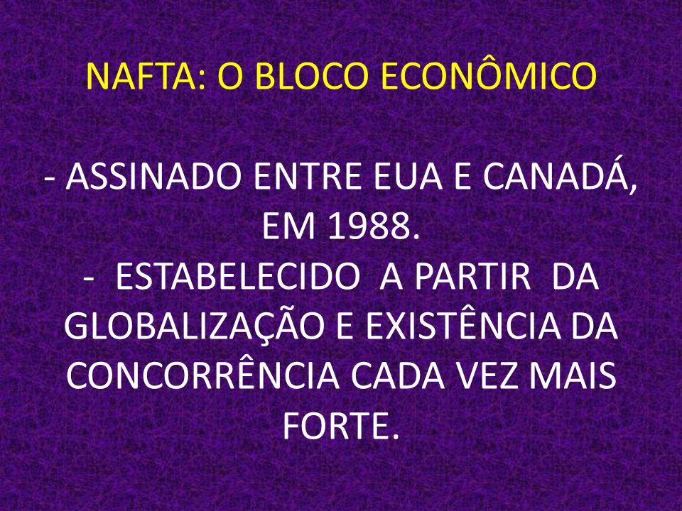NAFTA: O BLOCO ECONÔMICO - ASSINADO ENTRE EUA E CANADÁ, EM 1988.