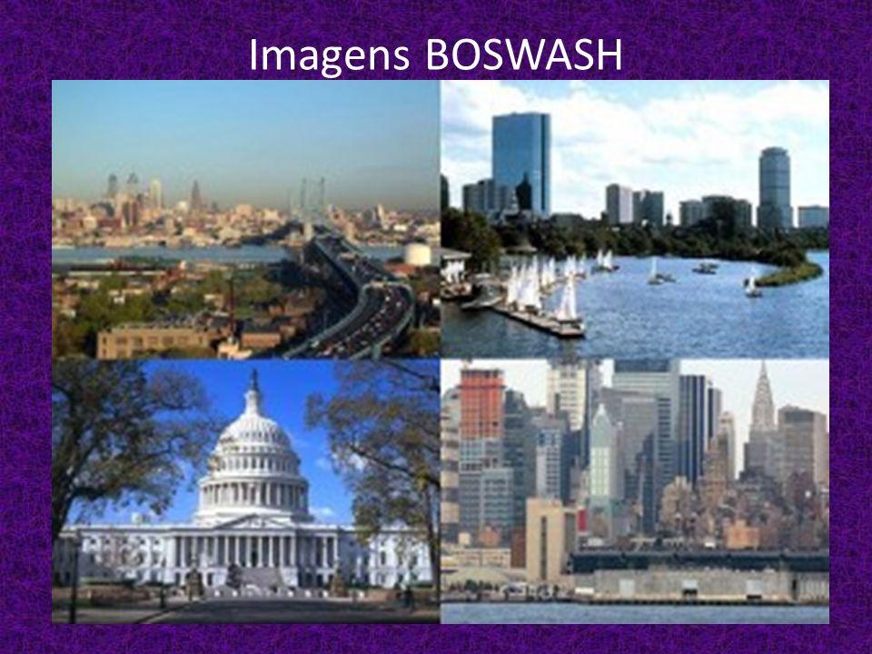 - BOSWASH: Ne – Entre Boston e Washington.É o berço do poder econômico e político do país.