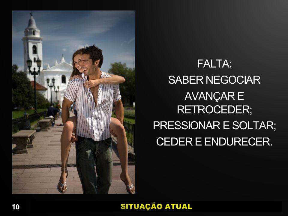 FALTA: SABER NEGOCIAR AVANÇAR E RETROCEDER; PRESSIONAR E SOLTAR; CEDER E ENDURECER. 10
