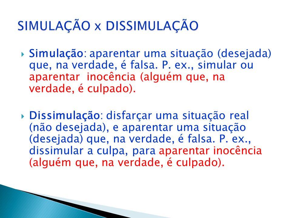 Dissimulação: disfarçar uma situação real (não desejada), e aparentar uma situação (desejada) que, na verdade, é falsa. P. ex., dissimular a culpa, pa