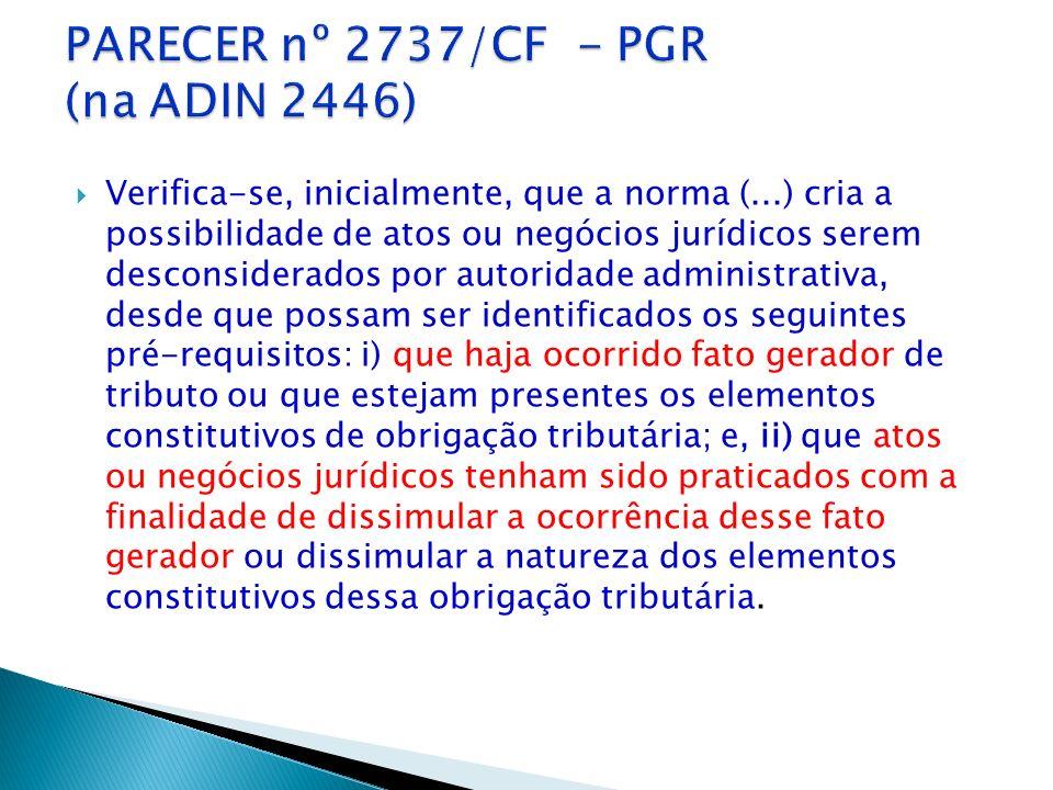 Objeto: inconstitucionalidade do parágrafo único do art. 116 do CTN Art. 116. (...) Parágrafo único. A autoridade administrativa poderá desconsiderar