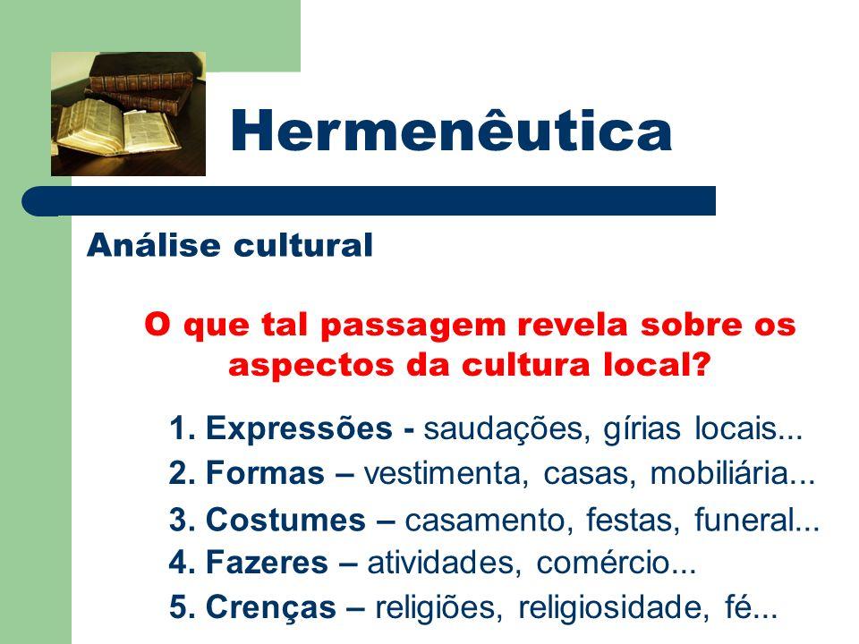 Hermenêutica Análise cultural O que tal passagem revela sobre os aspectos da cultura local? 1. Expressões - saudações, gírias locais... 2. Formas – ve