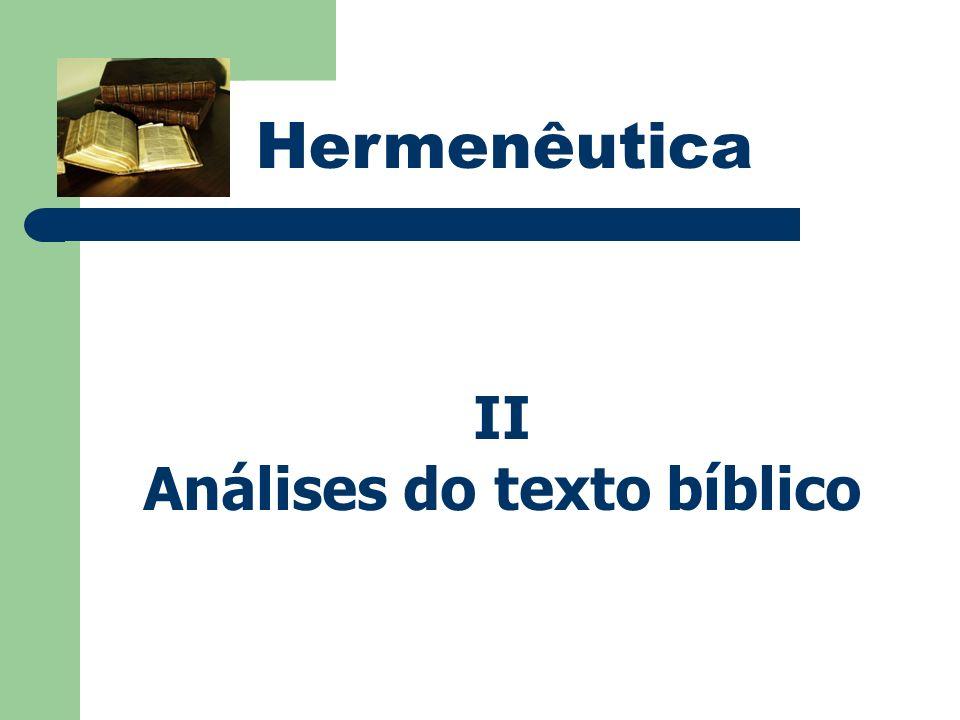 Hermenêutica II Análises do texto bíblico