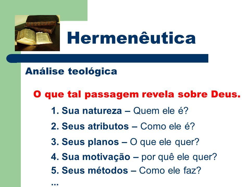 Hermenêutica Análise teológica O que tal passagem revela sobre Deus. 1. Sua natureza – Quem ele é? 2. Seus atributos – Como ele é? 3. Seus planos – O