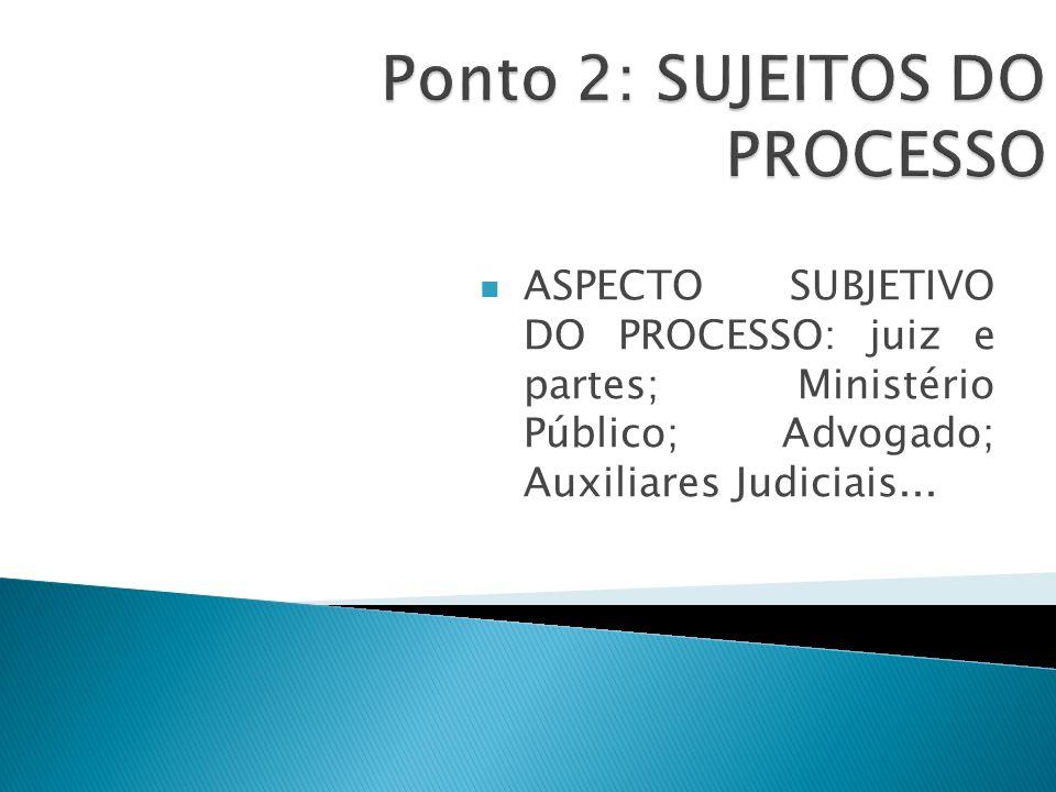 ASPECTO SUBJETIVO DO PROCESSO: juiz e partes; Ministério Público; Advogado; Auxiliares Judiciais...
