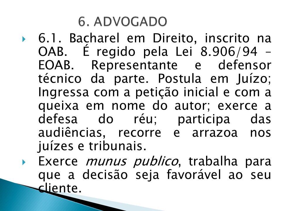 6.1. Bacharel em Direito, inscrito na OAB. É regido pela Lei 8.906/94 – EOAB. Representante e defensor técnico da parte. Postula em Juízo; Ingressa co