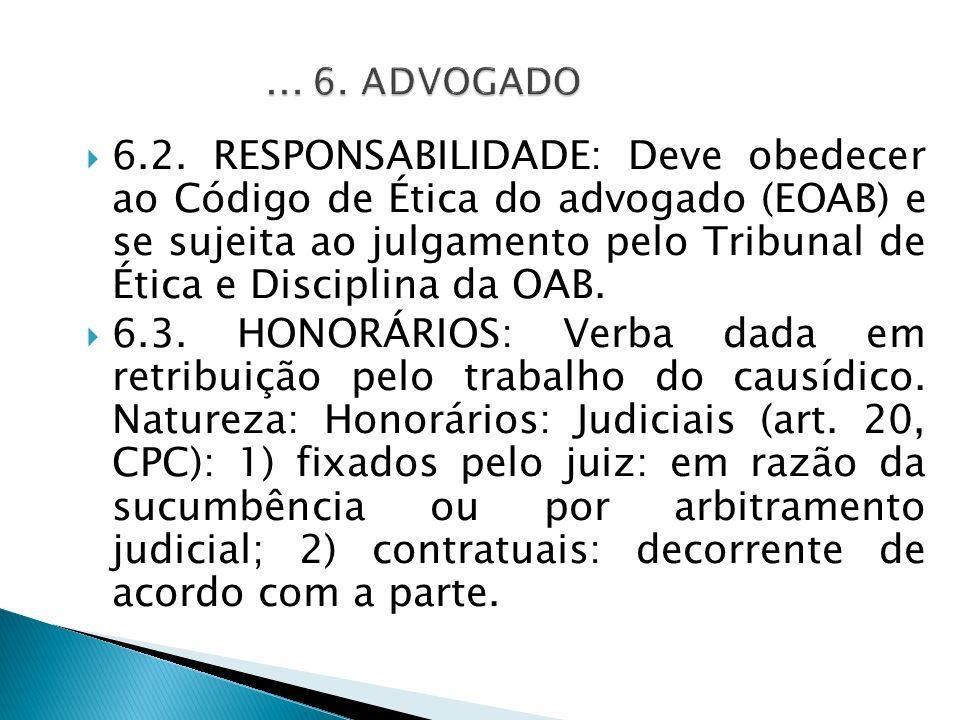 6.2. RESPONSABILIDADE: Deve obedecer ao Código de Ética do advogado (EOAB) e se sujeita ao julgamento pelo Tribunal de Ética e Disciplina da OAB. 6.3.