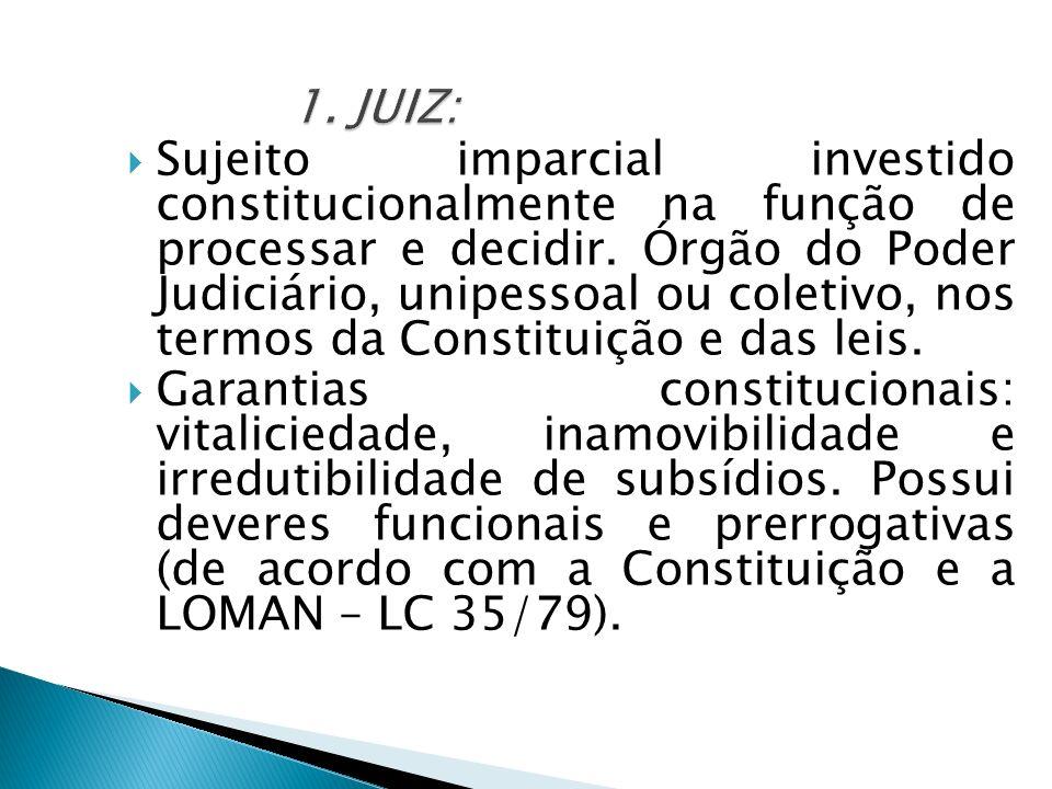 Sujeito imparcial investido constitucionalmente na função de processar e decidir. Órgão do Poder Judiciário, unipessoal ou coletivo, nos termos da Con