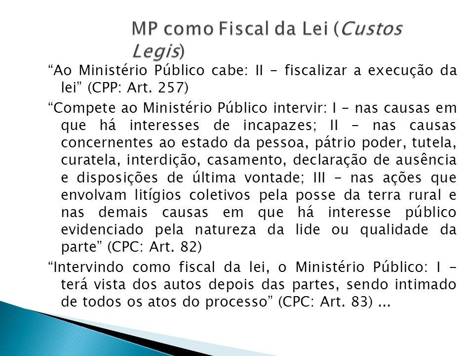 Ao Ministério Público cabe: II - fiscalizar a execução da lei (CPP: Art. 257) Compete ao Ministério Público intervir: I - nas causas em que há interes