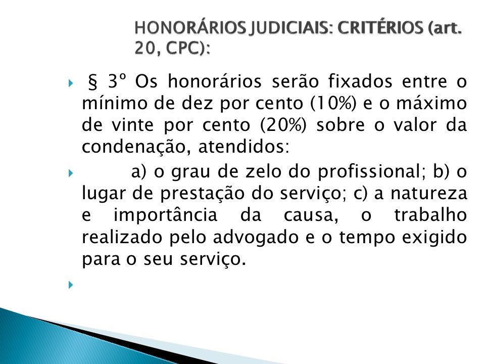 § 3º Os honorários serão fixados entre o mínimo de dez por cento (10%) e o máximo de vinte por cento (20%) sobre o valor da condenação, atendidos: a)