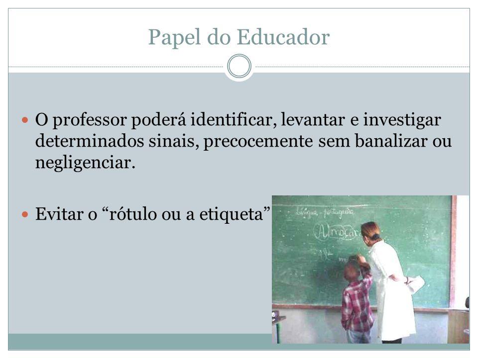 Papel do Educador O professor poderá identificar, levantar e investigar determinados sinais, precocemente sem banalizar ou negligenciar. Evitar o rótu