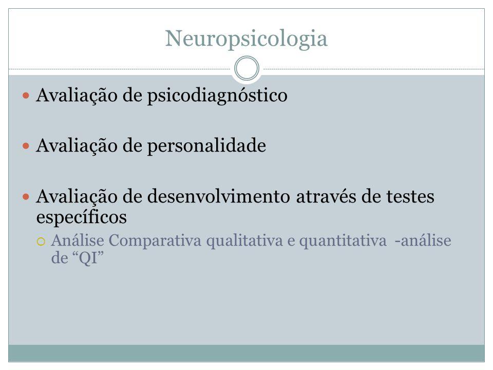 Neuropsicologia Avaliação de psicodiagnóstico Avaliação de personalidade Avaliação de desenvolvimento através de testes específicos Análise Comparativ