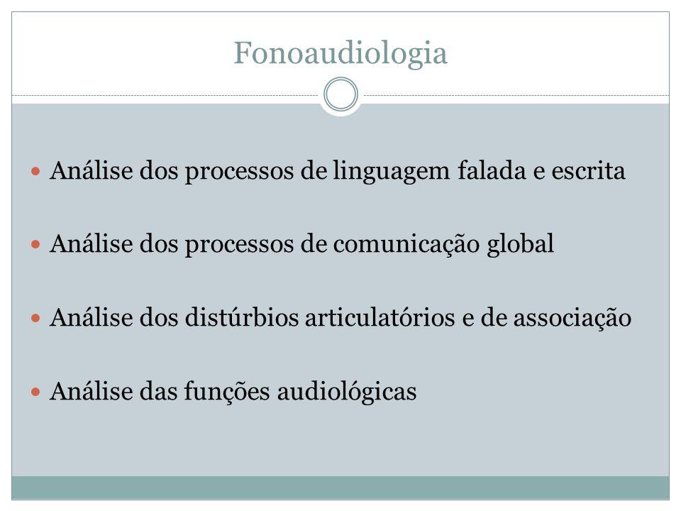 Fonoaudiologia Análise dos processos de linguagem falada e escrita Análise dos processos de comunicação global Análise dos distúrbios articulatórios e