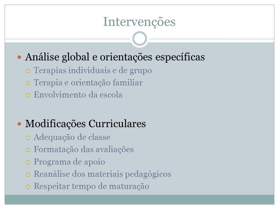 Intervenções Análise global e orientações específicas Terapias individuais e de grupo Terapia e orientação familiar Envolvimento da escola Modificaçõe