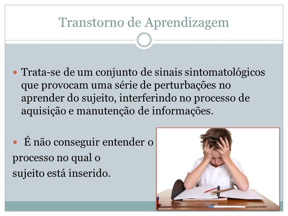 Transtorno de Aprendizagem Trata-se de um conjunto de sinais sintomatológicos que provocam uma série de perturbações no aprender do sujeito, interferi