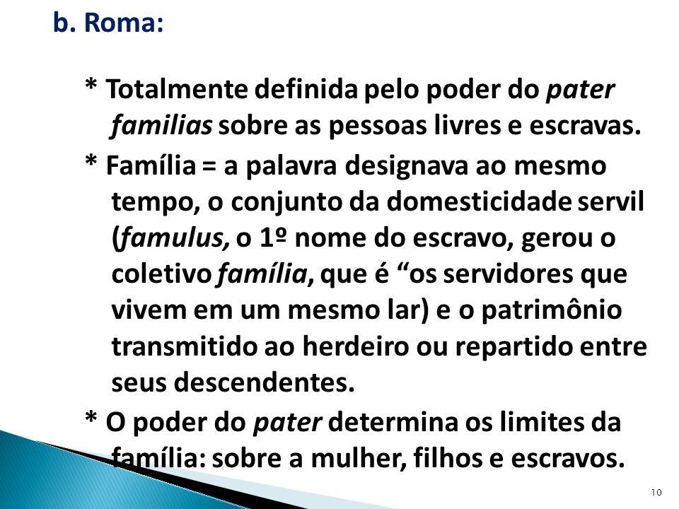 b.Roma: * Totalmente definida pelo poder do pater familias sobre as pessoas livres e escravas.