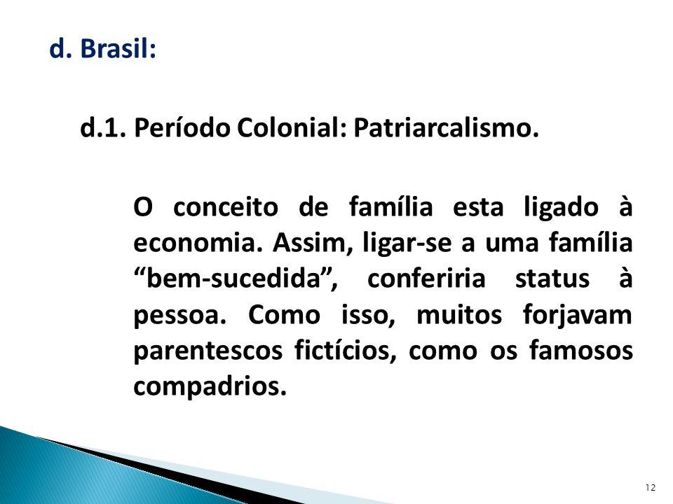 d.Brasil: d.1. Período Colonial: Patriarcalismo. O conceito de família esta ligado à economia.
