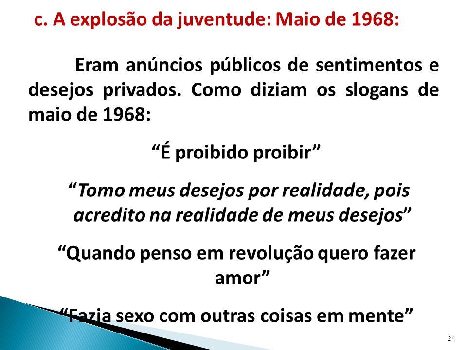 c.A explosão da juventude: Maio de 1968: Eram anúncios públicos de sentimentos e desejos privados.