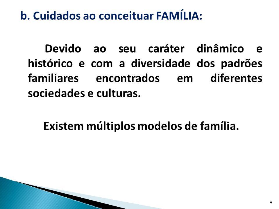 b. Cuidados ao conceituar FAMÍLIA: Devido ao seu caráter dinâmico e histórico e com a diversidade dos padrões familiares encontrados em diferentes soc