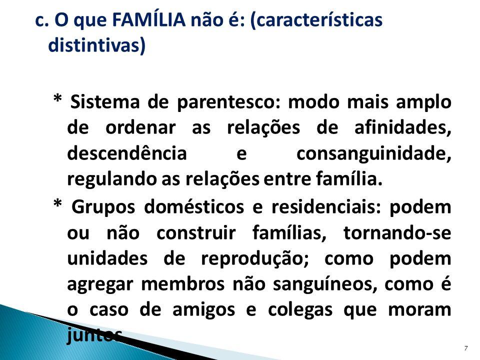 c. O que FAMÍLIA não é: (características distintivas) * Sistema de parentesco: modo mais amplo de ordenar as relações de afinidades, descendência e co