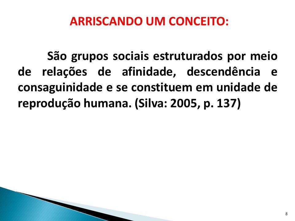 ARRISCANDO UM CONCEITO: São grupos sociais estruturados por meio de relações de afinidade, descendência e consaguinidade e se constituem em unidade de reprodução humana.