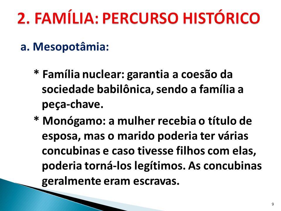 a. Mesopotâmia: * Família nuclear: garantia a coesão da sociedade babilônica, sendo a família a peça-chave. * Monógamo: a mulher recebia o título de e