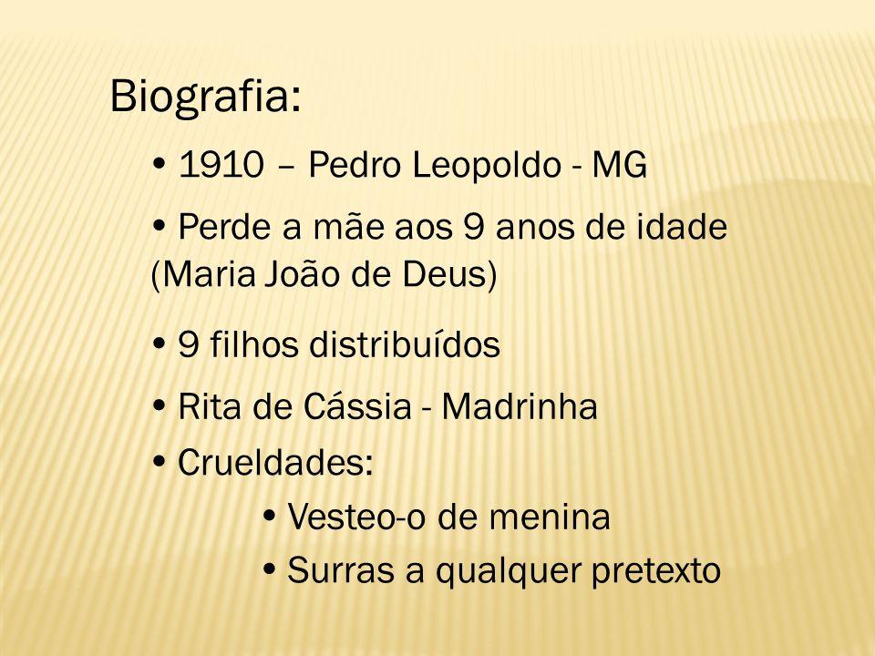 Biografia: 1910 – Pedro Leopoldo - MG Perde a mãe aos 9 anos de idade (Maria João de Deus) 9 filhos distribuídos Rita de Cássia - Madrinha Crueldades: