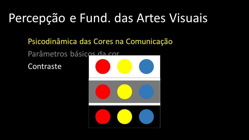 Percepção e Fund. das Artes Visuais Psicodinâmica das Cores na Comunicação Parâmetros básicos da cor Contraste