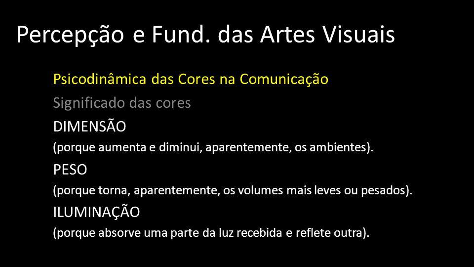 Percepção e Fund. das Artes Visuais Psicodinâmica das Cores na Comunicação Significado das cores DIMENSÃO (porque aumenta e diminui, aparentemente, os