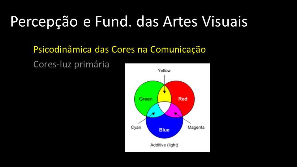 Percepção e Fund. das Artes Visuais Psicodinâmica das Cores na Comunicação Cores-luz primária