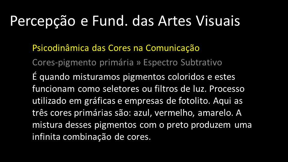 Percepção e Fund. das Artes Visuais Psicodinâmica das Cores na Comunicação Cores-pigmento primária » Espectro Subtrativo É quando misturamos pigmentos