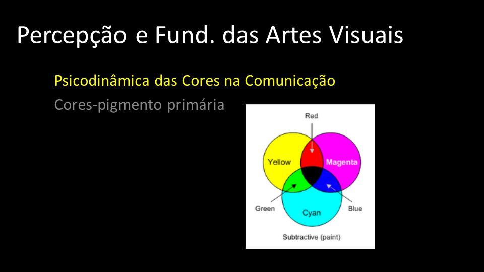 Percepção e Fund. das Artes Visuais Psicodinâmica das Cores na Comunicação Cores-pigmento primária
