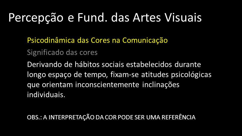 Percepção e Fund. das Artes Visuais Psicodinâmica das Cores na Comunicação Significado das cores Derivando de hábitos sociais estabelecidos durante lo