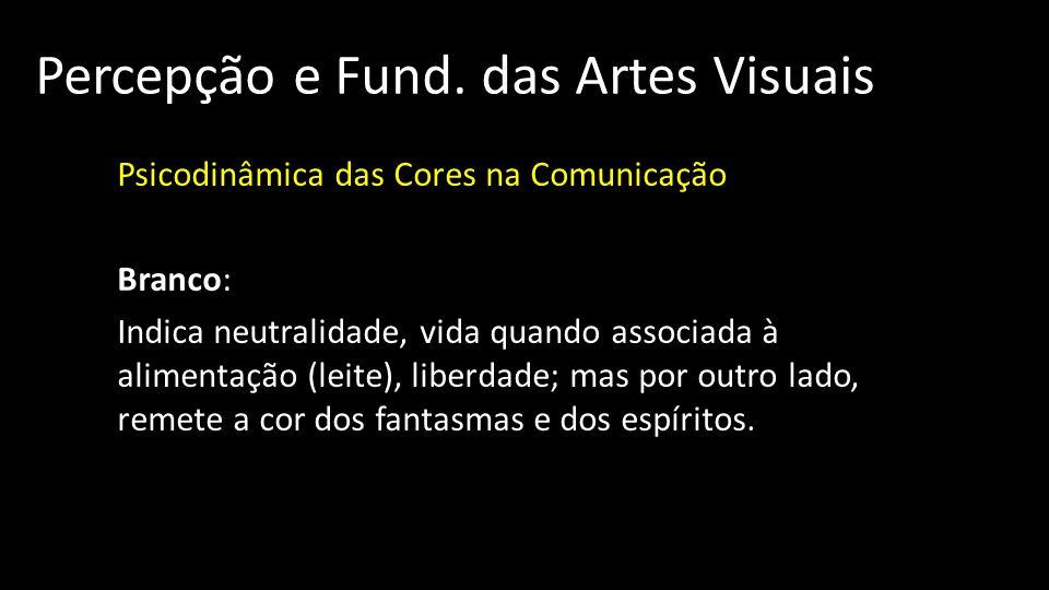 Percepção e Fund. das Artes Visuais Psicodinâmica das Cores na Comunicação Branco: Indica neutralidade, vida quando associada à alimentação (leite), l