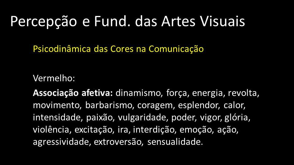 Percepção e Fund. das Artes Visuais Psicodinâmica das Cores na Comunicação Vermelho: Associação afetiva: dinamismo, força, energia, revolta, movimento