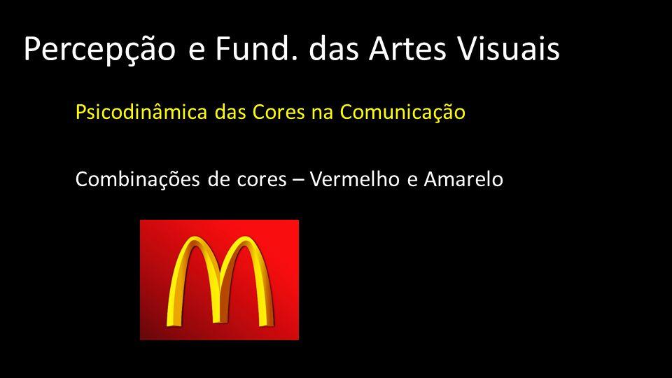 Percepção e Fund. das Artes Visuais Psicodinâmica das Cores na Comunicação Combinações de cores – Vermelho e Amarelo