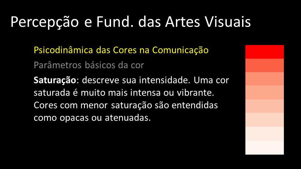 Percepção e Fund. das Artes Visuais Psicodinâmica das Cores na Comunicação Parâmetros básicos da cor Saturação: descreve sua intensidade. Uma cor satu