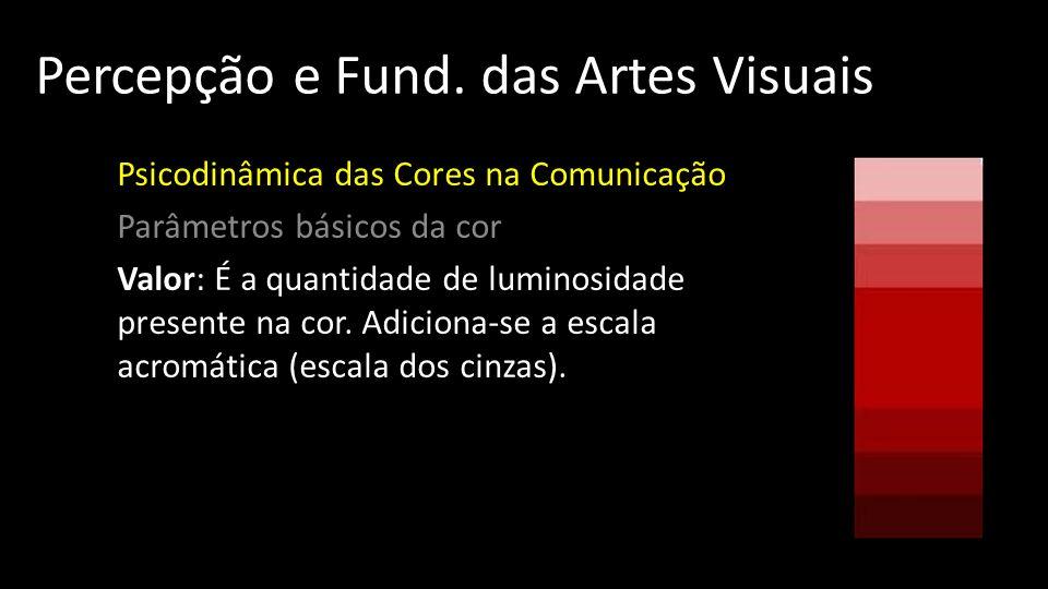 Percepção e Fund. das Artes Visuais Psicodinâmica das Cores na Comunicação Parâmetros básicos da cor Valor: É a quantidade de luminosidade presente na