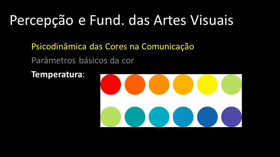Percepção e Fund. das Artes Visuais Psicodinâmica das Cores na Comunicação Parâmetros básicos da cor Temperatura: