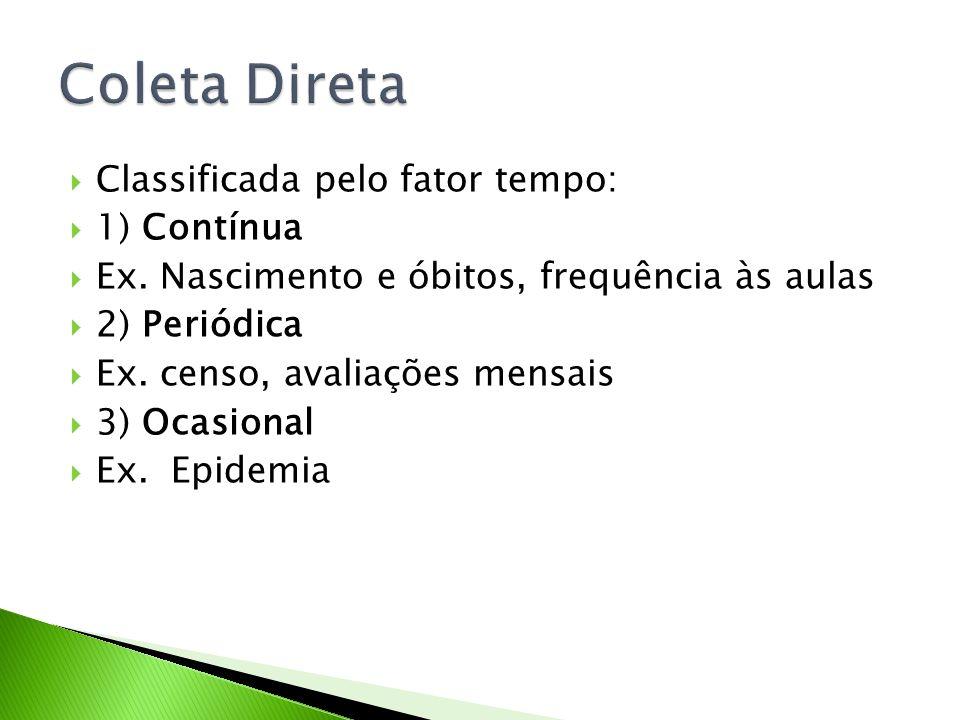 Classificada pelo fator tempo: 1) Contínua Ex. Nascimento e óbitos, frequência às aulas 2) Periódica Ex. censo, avaliações mensais 3) Ocasional Ex. Ep