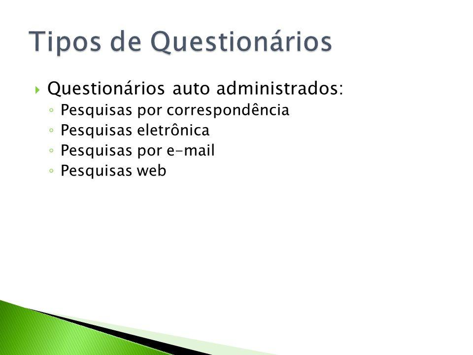 Questionários auto administrados: Pesquisas por correspondência Pesquisas eletrônica Pesquisas por e-mail Pesquisas web