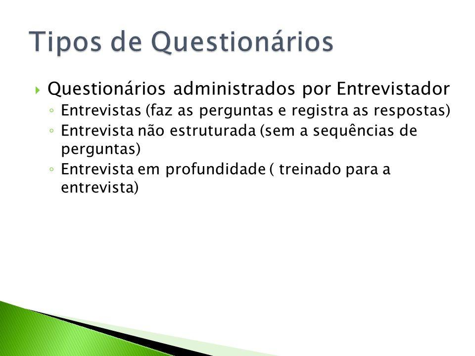 Questionários administrados por Entrevistador Entrevistas (faz as perguntas e registra as respostas) Entrevista não estruturada (sem a sequências de p